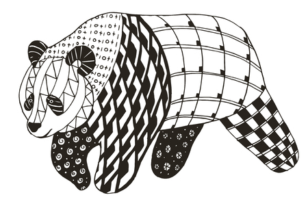 Panda stylized, vector, illustration, freehand pencil. Coloring book. Print for coloring books.