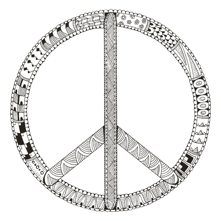 Peace sign isolated on white background. Vector illustration. Freehand pencil. Hand drawn. Pattern. Print for t-shirts. 矢量图像