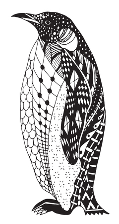 Penguin stylized, vector, illustration, freehand pencil, hand drawn, pattern. Print for coloring books.