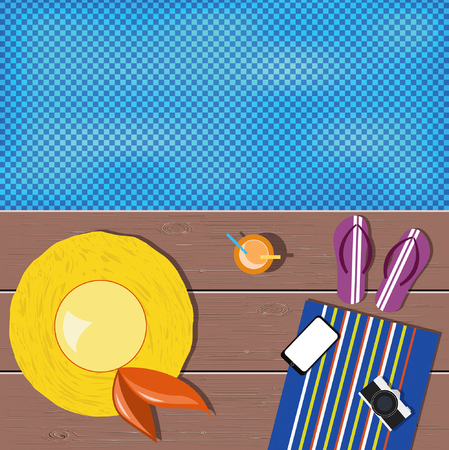 Flat lay design. Summer icons. Yellow hat, violet flip-flops, mobile phone, orange juice, vintage camera, wooden planks, blue towel with stripes by the poolside. 矢量图像