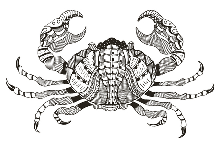 Zodiac sign - Cancer. Vector illustration. Crab.  Horoscope. Pattern. Hand drawn. Freehand pencil. Print for coloring books.