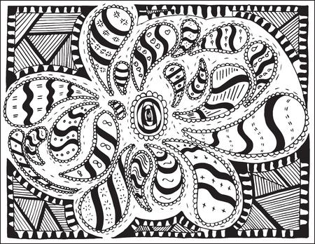 Doodles,  vector, illustration, pattern, freehand pencil, flowers, petals. Organic design. Print for decoration.