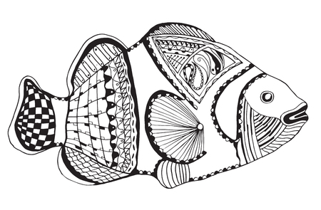 Clownfish stylized, vector, illustration, freehand pencil, black and white. Print for coloring books and t-shirts.