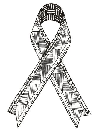 Awareness ribbon. Vector. Illustration. Freehand pencil. Hand drawn. Pattern.  Print for t-shirts. 矢量图像