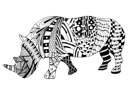 Rhino stylized, vector, illustration, freehand pencil, doodle, black and white. Coloring book. Print for t-shirts.