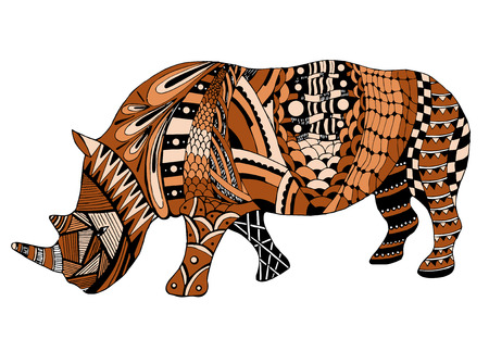 Rhino stylized, vector, illustration, freehand pencil, doodle, orange. Print for t-shirts.