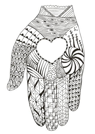 Hand holding heart stylized, vector, illustration, freehand pencil, doodle, pattern. Print for t-shirts.