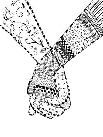 Couple holding hands, swirl, flower, vector, illustration, freehand pencil. Print for t-shirts and wedding cards.