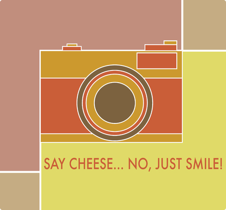 Analog camera with words say cheese no just smile. Print for t-shirts.