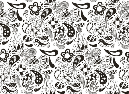 Seamless pattern doodles, vector, illustration, pattern, freehand pencil, flowers, petals. Print for decoration.