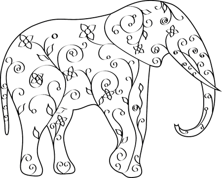 Black and white elephant swirl illustration, vector, flowers. Print for t-shirts and coloring books. 矢量图像