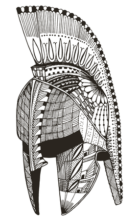 Spartan helmet. Vector illustration. Pattern. Freehand pencil. Hand drawn. Print for t-shirts. 矢量图像