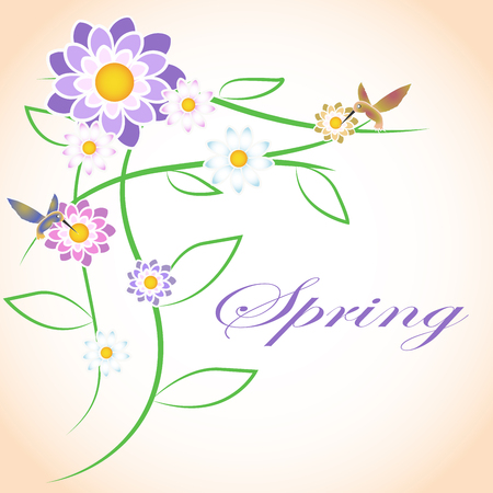 Spring flowers and colibri birds. Print for postcards.