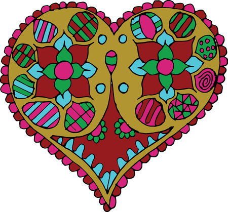 Artistically hand drawn, stylized heart vector - color. Print for t-shirts.