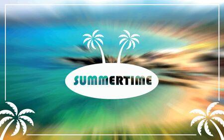 Blurred background beach site, zoom blur, summertime, palms tree, vector, illustration. Print for postcards. 矢量图像