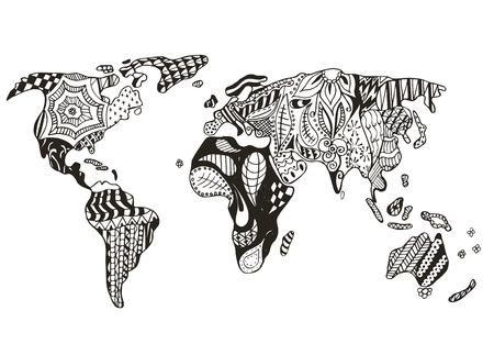 World map stylized, vector, illustration, freehand pencil. Print for coloring books.