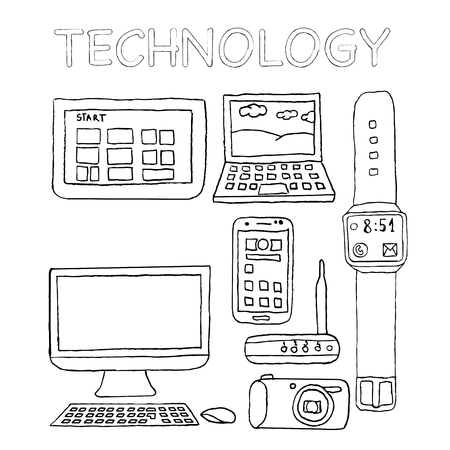 Technology icons, hand drawn, digital camera, router, laptop, desk computer, tablet, smartwatch, smartphone, freehand, isolated, pencil.
