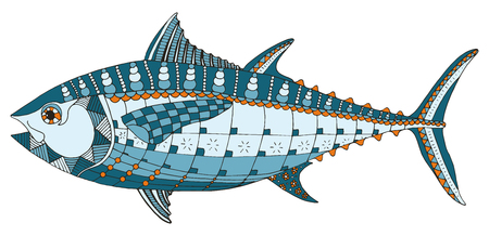 Bluefin tuna fish stylized, vector, illustration, freehand pencil, hand drawn, pattern. Print for t-shirts, mobile cover design. Print for coloring books.