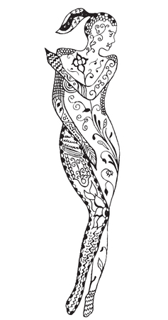 Stylized woman, flower, leafs, vector illustration, artistically drawn, freehand. Print for coloring books.