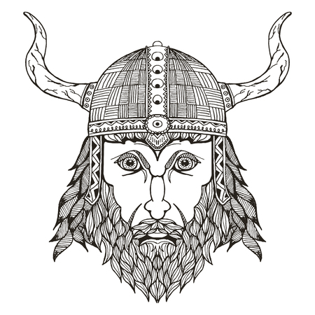 scandinavia: Ancient viking head. Helmet with horns. Vector illustration. Freehand pencil. Hand drawn. Pattern. Isolated. Print for t-shirts.