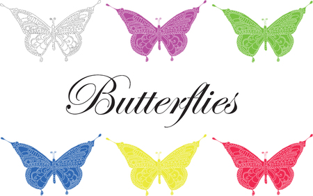 Artistically hand drawn, stylized butterfly vector - color. Print for t-shirts.