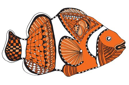 Clownfish stylized, vector, illustration, freehand pencil, color. Pattern. Print for t-shirts.