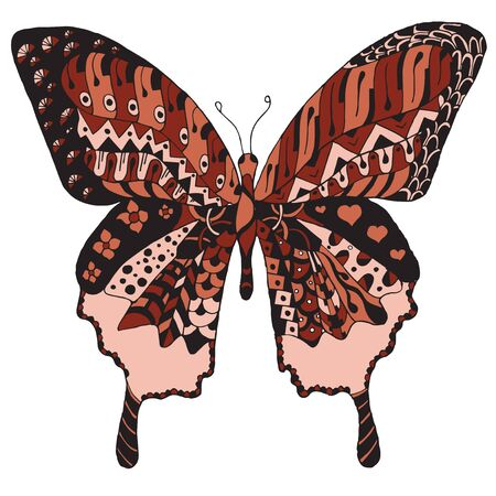 Artistically hand drawn, stylized butterfly vector, illustration, freehand pencil. Print for t-shirts.