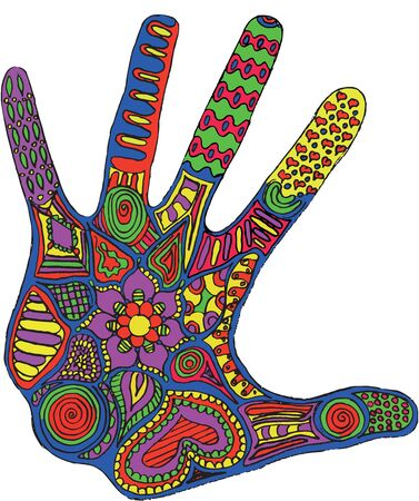 Artistically drawn, stylized hand vector. Pattern. Zen art. Freehand pencil. Print for t-shirts.