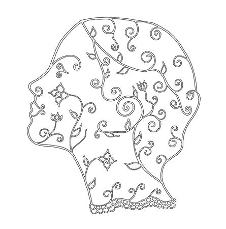 Stylized woman face, flower, leafs, vector illustration, artistically drawn, freehand. Print for t-shirts.
