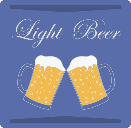 Light beer on blue background, vector, illustration. Print for posters.