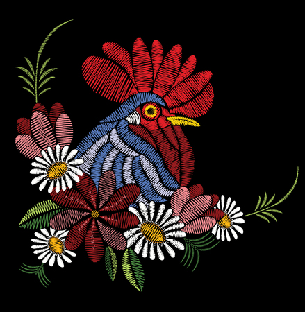 Embroidery stitches with rooster, wildflowers, chamomile, leaves. Vector floral ornament decoration on black background. Print for textile and fabric.