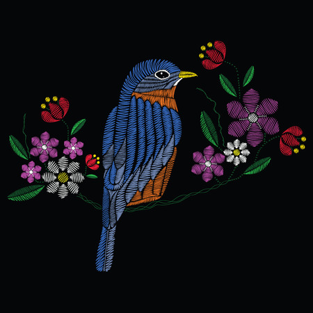 Vector illustration embroidery stitches with bluebird chamomile, spring flowers, branches in color. Fashion ornament on black background for textile and fabric traditional floral decoration. Hand drawn illustration.
