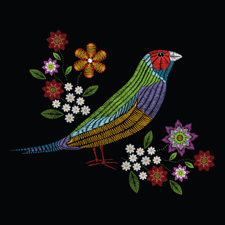 Vector illustration embroidery stitches with gouldian finch, chamomile wildflowers, spring flowers, branches in color. Fashion ornament on black background for textile and fabric traditional floral decoration. Hand drawn illustration. Print for textile an