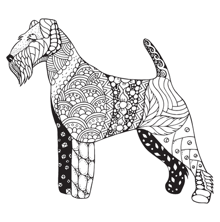 Welsh terrier dog zentangle stylized, vector, illustration, freehand pencil, hand drawn, pattern. Zen art. Black and white illustration on white background. Print for t-shirts and coloring books.