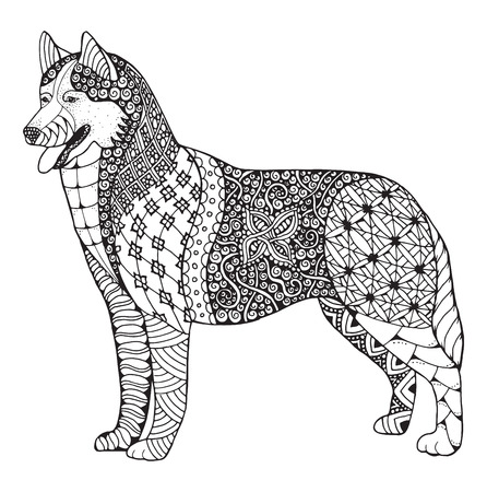 Siberian husky dog zentangle stylized, vector, illustration, freehand pencil, hand drawn, pattern. Zen art. Black and white illustration on white background. Adult anti-stress coloring book. Print for t-shirt. Illustration