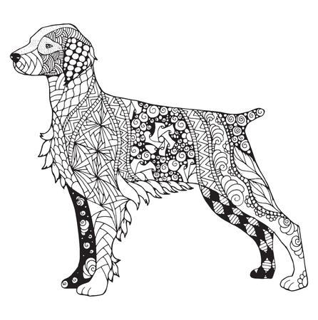 Brittany dog zentangle stylized, vector, illustration, freehand pencil, hand drawn, pattern. Zen art.