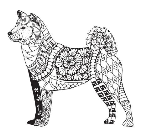 Akita dog zentangle stylized, vector, illustration, freehand pencil, hand drawn, pattern. Zen art.