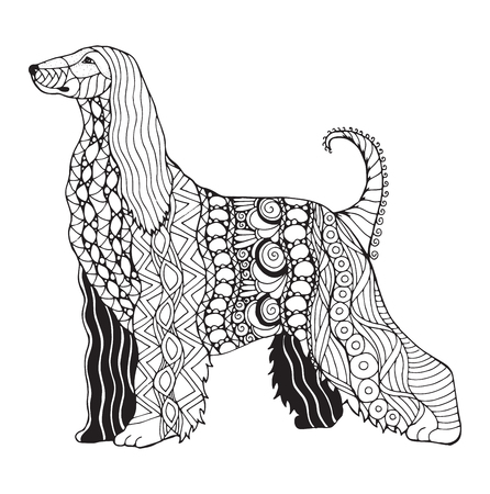 Afghan hound dog zentangle stylized, vector, illustration, freehand pencil, pattern. Zen art. Black and white illustration on white background. Adult anti-stress coloring book. Print for t-shirts.