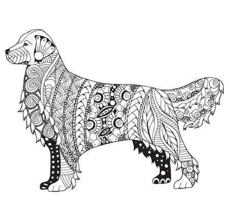 Golden retriever dog zentangle stylized, vector, illustration, freehand pencil, pattern. Zen art. Black and white illustration on white background. Adult anti-stress coloring book. Print for T-shirts.