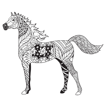Arabian horse zentangle stylized, vector, illustration, freehand pencil, pattern. Zen art. Black and white illustration on white background. Adult anti-stress coloring book. Print for t-shirts.
