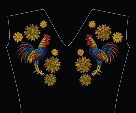 Embroidery stitches with rooster and sunflowers in pastel color. Vector fashion ornament on black background for fabric traditional folk floral decoration. Pattern for textile. Print for fabrics.