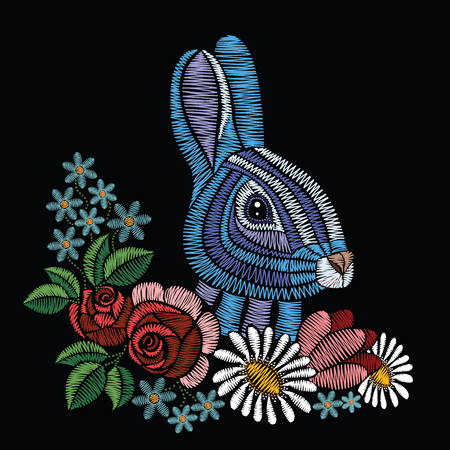 Embroidery stitches with rabbit, roses, chamomile, myosotis in pastel color.