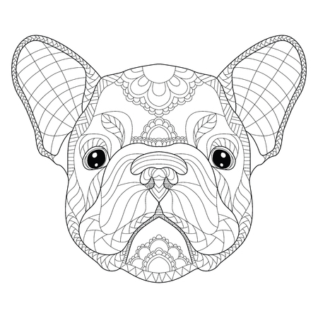 French bulldog puppy head zentangle stylized, vector, illustration, freehand pencil, pattern.