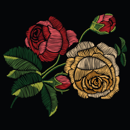 Embroidery stitches with red and yellow roses in pastel color. Vector fashion ornament on black background for traditional floral decoration. Pattern for textile and fabrics. Print for textile.