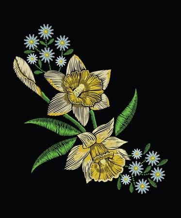 자 수 스티치 노란 수 선화 수 선화, 카모마일 및 녹색 파스텔 색상으로 나뭇잎. 전통적인 꽃 장식에 대 한 검은 배경에 벡터 패션 장식. 직물 및 직물  일러스트