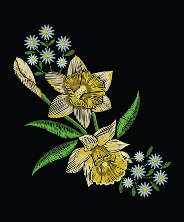 Embroidery stitches with yellow narcissus daffodil, chamomile and green leaves in pastel color. Vector fashion ornament on black background for traditional floral decoration. Pattern for textile and fabrics. Print for textile.