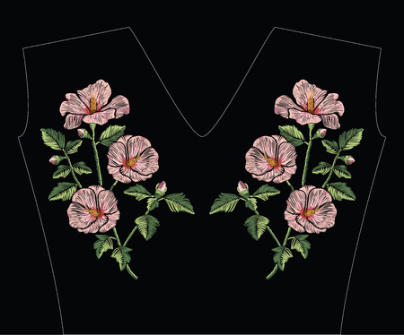 Embroidery stitches with pink hibiscus flowers with green leaves in pastel color. Vector fashion ornament on black background for traditional floral decoration. Pattern for textile and fabrics. Print for textile.