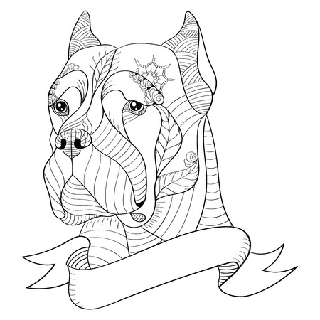 Zentangle stylized head of italian mastiff cane corso. Vector, illustration, freehand pencil, pattern. Zen art. Black and white illustration on white background. Adult anti-stress coloring book. Print for t-shirts.