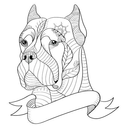 Zentangle には、イタリアン ・ マスティフ カネコルソの頭が様式化されました。ベクトル図、フリーハンドの鉛筆、パターン。禅芸術。白い背景の黒