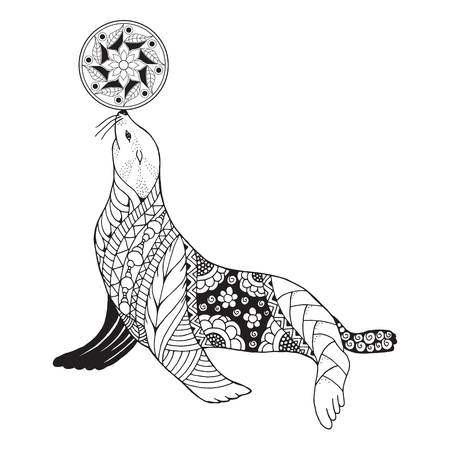Zentangle stylized seal balancing ball on nose. Vector, illustration, freehand pencil, pattern. Zen art. Black and white illustration on white background. Adult anti-stress coloring book. Print for t-shirts. 矢量图像
